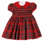 "<img src=""https://p11.secure.hostingprod.com/@grammies-attic.com/ssl/images/blue-sold-1.gif""> NEW Anavini Red Plaid Cotton Smocked Dress with Red Collar"