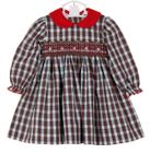 NEW Petit Bebe by Anavini Red Plaid Smocked Dress with Red Corduroy Collar
