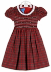 NEW Anavini Red Plaid Smocked Dress with White Pleated Collar