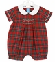 NEW Anavini Red Plaid Smocked Romper