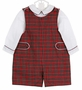NEW Anavini Red Plaid Smocked Shortall with White Shirt