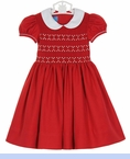 NEW Anavini Red Smocked Dress with White Collar