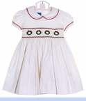 NEW Anavini White Cotton Pincord Smocked Dress with Embroidered Wreaths