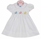 """<img src=""""https://p11.secure.hostingprod.com/@grammies-attic.com/ssl/images/blue-sold-1.gif""""> NEW Anavini White Cotton Smocked Dress with Embroidered Bunnies"""