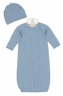NEW Angel Dear Heather Blue Cotton Knit Gown with Matching Hat