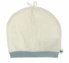 "<img src=""https://p11.secure.hostingprod.com/@grammies-attic.com/ssl/images/blue-sold-1.gif""> NEW Angel Dear Ivory Cotton Cable Knit Hat with Blue Trim"