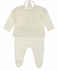 """<img src=""""https://p11.secure.hostingprod.com/@grammies-attic.com/ssl/images/blue-sold-1.gif""""> NEW Angel Dear Ivory Cotton Pointelle Sweater and Leggings Set with Openwork Detail"""