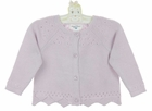 NEW Angel Dear Lavender Cotton Pointelle Knit Cardigan with Openwork Detail