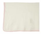 NEW Angel Dear Pale Ivory Cotton Knit Blanket with Pink Trim