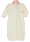 NEW Angel Dear Pale Ivory Cotton Knit Gown with Pink Trim