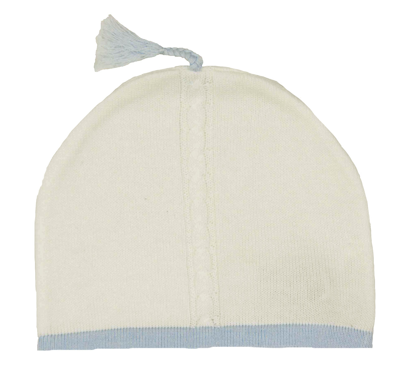 Angel Dear Soft Cotton Knit Baby Hat With Blue Trim Ivory