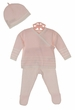 NEW Angel Dear Pale Pink Striped Cotton Knit Pants Set with Matching Hat