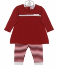 NEW Angel Dear Red Cotton Knit Dress with Red Striped Leggings