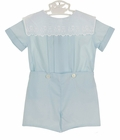 NEW Anvy Kids Blue Button on Shorts Set with Train Embroidered White Portrait Collar