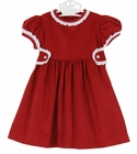 NEW Anvy Kids Red Corduroy Dress with White Lace Trimmed Collar