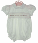 NEW Baby Dove White Cotton Smocked Bubble with Delicate Pink Rosebuds