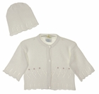 NEW Baby's Trousseau White Delicate Knit Cotton Sweater with Embroidered Pink Rosebuds and Matching Hat