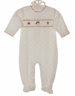 NEW Baby Threads Star Print Smocked Footed Romper with Santa Embroidery