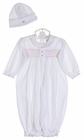 NEW Baby Trousseau White Pima Cotton Knit Smocked Daygown with Pink Embroidered Rosebuds and Hat