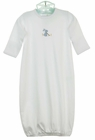 NEW Baby Threads White Softest Pima Cotton Knit Daygown with Blue Embroidered Bunny