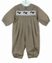 NEW Bailey Boys Brown Plaid Smocked Longall with Embroidered Puppies