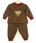 NEW Bailey Boys Red and Green Striped Pajamas with Reindeer Applique