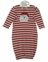 NEW Bailey Boys Red and White Striped Baby Gown with Santa Applique