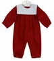 """<img src=""""https://p11.secure.hostingprod.com/@grammies-attic.com/ssl/images/blue-sold-1.gif""""> NEW Bailey Boys Red Pinwale Corduroy Romper with White Portrait Collar"""