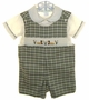 """<img src=""""https://p11.secure.hostingprod.com/@grammies-attic.com/ssl/images/blue-sold-1.gif""""> NEW Be Mine Green Plaid Smocked Shortall Set with Ducks Embroidery"""