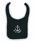 NEW Black Cotton Knit Sailor Bib with Anchor and US Navy Embroidery