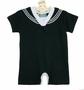 NEW Black Cotton Knit Sailor Shortall with White Trim