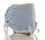 NEW Blue Keepsake Hanky Bonnet with Cluny Lace Trim