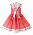 """<img src=""""https://p11.secure.hostingprod.com/@grammies-attic.com/ssl/images/blue-sold-1.gif""""> NEW C. I. Castro Red Checked Sleeveless Sailor Dress for Little Girls"""