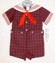 "<img src=""https://p11.secure.hostingprod.com/@grammies-attic.com/ssl/images/blue-sold-1.gif""> NEW C. I. Castro Red Plaid Button On Sailor Suit for Toddler Boys"
