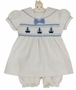 NEW Carriage Boutiques White Cotton Smocked Baby Dress with Embroidered Boats
