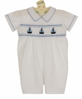 NEW Carriage Boutiques White Cotton Smocked Shortall with Embroidered Boats