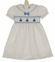 """<img src=""""https://p11.secure.hostingprod.com/@grammies-attic.com/ssl/images/blue-sold-1.gif""""> NEW Carriage Boutique White Cotton Smocked Toddler Dress with Embroidered Boats"""
