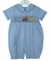 "<img src=""https://p11.secure.hostingprod.com/@grammies-attic.com/ssl/images/blue-sold-1.gif""> NEW Carriage Boutiques Blue Smocked Romper with Noah's Ark Embroidery"
