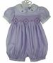 "<img src=""https://p11.secure.hostingprod.com/@grammies-attic.com/ssl/images/blue-sold-1.gif""> NEW Carriage Boutiques Lavender Smocked Bubble with Purple Embroidery"