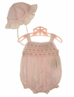 NEW Carriage Boutiques Pink Smocked Sunsuit with Rosebud Embroidery and Matching Sunbonnet