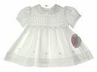 NEW Carriage Boutiques White Dress with Pleated Yoke and Rosebud Embroidery