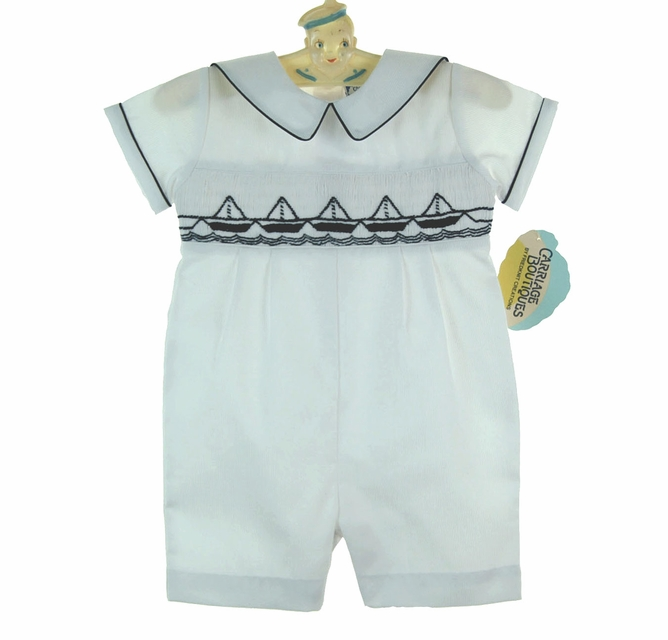 Carriage Boutique Baby Boy Short Romper with Sailor Collar