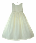 """<img src=""""https://p11.secure.hostingprod.com/@grammies-attic.com/ssl/images/blue-sold-1.gif""""> NEW Cinderella Ivory Sleeveless Satin and Organdy Dress with Beading, Sequins,and Pearls"""