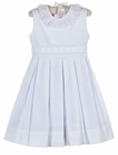 NEW Claire & Charlie by Anavini White Cotton Pique Pleated Dress with Swiss Eyelet Trim