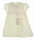 NEW Collins and Hall Ivory Velvet Baby Dress with Silk Organza Sleeves