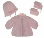 """<img src=""""https://p11.secure.hostingprod.com/@grammies-attic.com/ssl/images/blue-sold-1.gif""""> NEW Custom Crocheted Pink Sweater, Hat, and Booties Set with Pink Ribbon Trim"""
