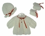 "<img src=""https://p11.secure.hostingprod.com/@grammies-attic.com/ssl/images/blue-sold-1.gif""> NEW Custom Crocheted White Sweater, Hat, and Booties Set with Red Ribbon Trim"