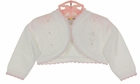 NEW Dolce Goccia White Cotton Bolero Sweater with Pink Scalloped Trim, Tiny Pink Rosebuds, and Delicate Openwork