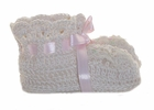 NEW Ecru Crocheted Booties with Lace Trim and Delicate Pink or White Rosebud Embroidery