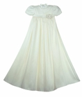 NEW Elegant Pearl White Silk Christening Gown with Silk Rose